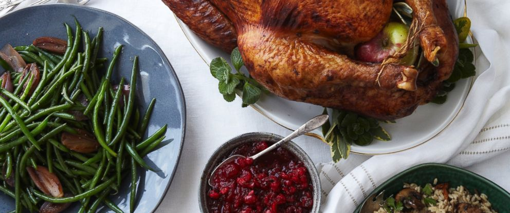 PHOTO: Roasted turkey and side dishes.