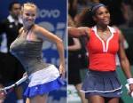 PHOTO: Danish tennis player Caroline Wozniacki impersonates Serena Williams by carrying towels under her clothes simulating bigger breasts and bottom, during an exhibition match against Maria Sharapova of Russia in Sao Paulo, Brazil, Dec. 7, 2012. Serena