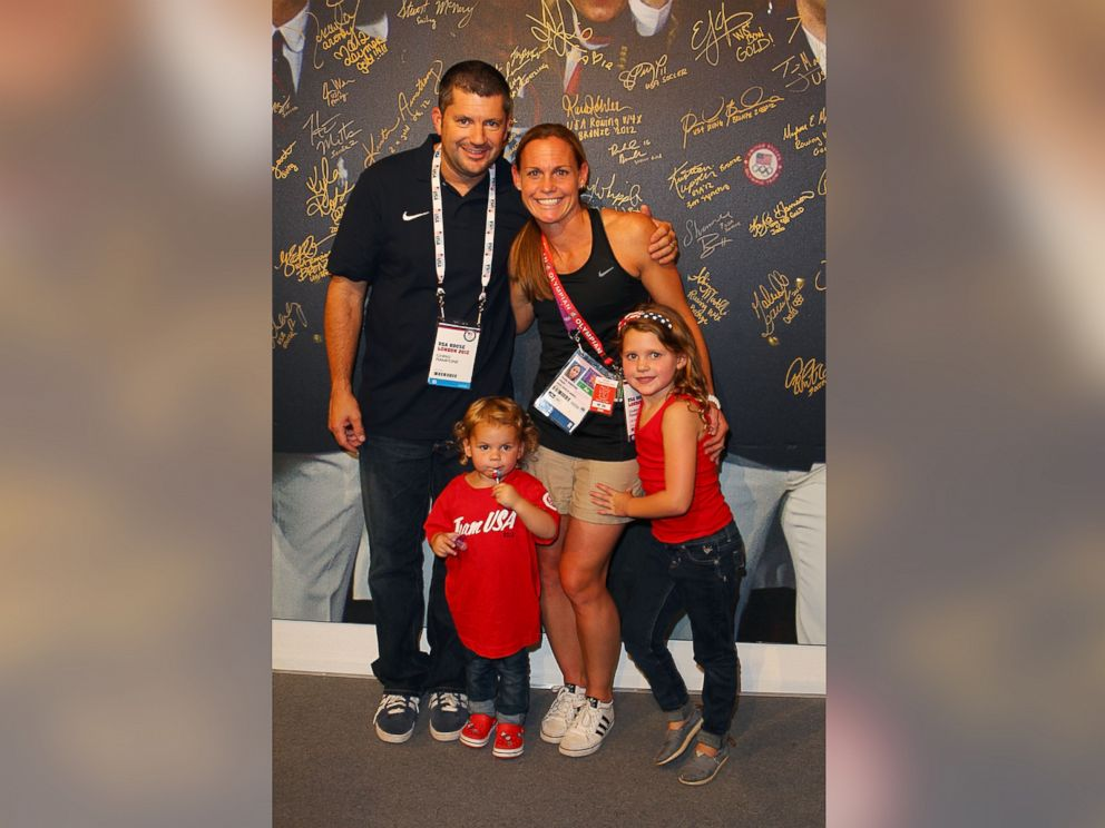 PHOTO: U.S. Olympian Christie Rampone visits the USA House with her family at the Royal College of Art on August 10, 2012 in London.