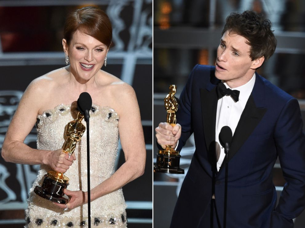8bfff3b698f1 PHOTO  Julianne Moore and Eddie Redmayne accept their Oscars at the 87th  Annual Academy Awards