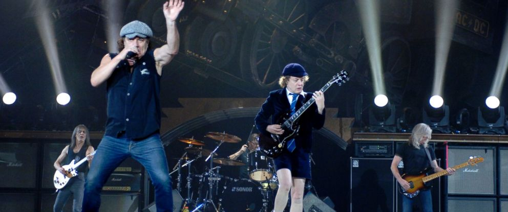 PHOTO: Malcolm Young, Brian Johnson, Phil Rudd, Angus Young, and Cliff Williams of AC/DC perform in support of the bands Black Ice release at the Oracle Arena on Dec. 2, 2008 in Oakland, Calif.
