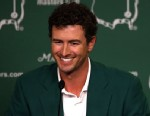 PHOTO: Adam Scott of Australia addresses the media as he enters the news conference after Scott won the 2013 Masters Tournament at Augusta National Golf Club, April 14, 2013, in Augusta, Georgia.