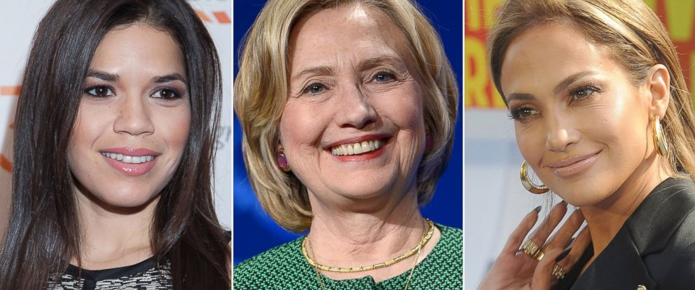 PHOTO: America Ferrera attends an event in Washington on March 3, 2015, Hillary Clinton speaks in Florida on March 7, 2015, and Jennifer Lopez attends the 2015 MTV Movie Awards show on April 12, 2015 in Los Angeles.