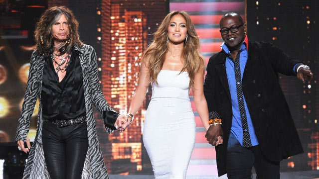 "PHOTO: Judges Steven Tyler, left, Jennifer Lopez and Randy Jackson are shown on ""American Idol"", Feb. 28, 2012 in Hollywood, Calif."