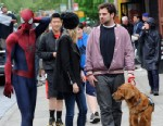 """PHOTO: Emma Stone, Andrew Garfield, Spencer Stone and Ren, Emma Stone and Andrew Garfields dog on the set of """"The Amazing Spider-Man 2"""", May 18, 2013 in New York."""