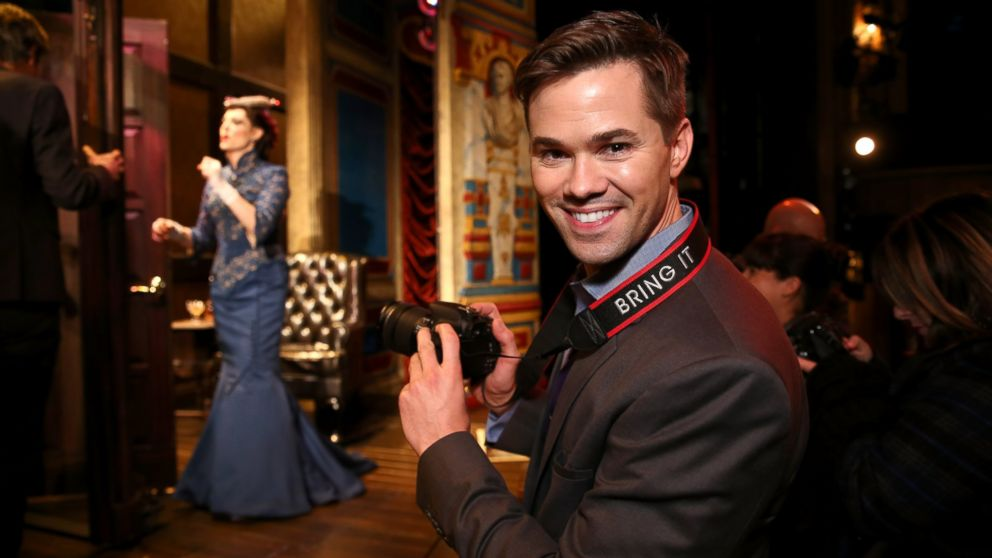"""Andrew Rannells hosts the Canon #BRINGIT Tour Of NYC at """"A Gentleman's Guide to Love and Murder"""" on Dece. 3, 2014 in New York City."""