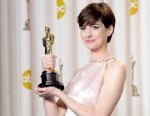 "PHOTO: Anne Hathaway, winner of the Best Supporting Actress award for ""Les Miserables,"" poses in the press room for the Academy Awards at Loews Hollywood Hotel, Feb. 24, 2013, in Hollywood."
