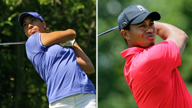 PHOTO: Cheyenne Woods, left, hits her tee shot at Locust Hill Country Club on June 7, 2012 in Pittsford, New York. Tiger Woods tees off on the first hole during the final round of the Memorial golf tournament on June 3, 2012 in Dublin, Ohio.
