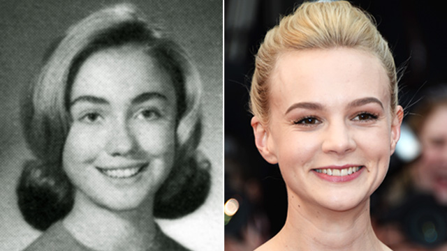 PHOTO: Hillary Rodham poses in her 1965 senior class portrait from Park Ridge (Ill.) East High School, left. Carey Mulligan attends the Premiere of 'Inside Llewyn Davis', at the Cannes Film Festival, May 19, 2013 in Cannes, France.