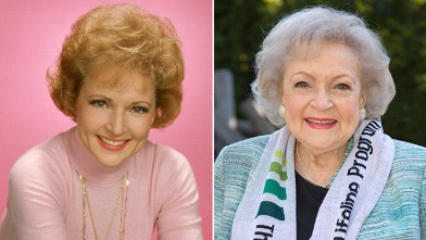 PHOTO: Betty White, as Sue Ann Nivens, in a publicity portrait for the CBS situation comedy 'Mary Tyler Moore,' Studio City, Los Angeles, 1974; Betty White hosts the 'White Hot' holiday event at Los Angeles Zoo, Dec. 11, 2012, in Los Angeles.