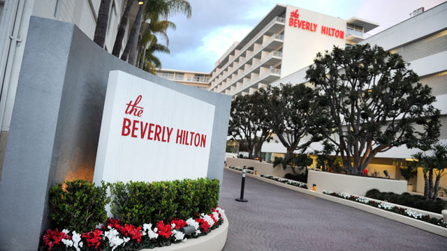 PHOTO: A general view of the Beverly Hilton Hotel before the Clive Davis and The Recording Academy's 2012 Pre-GRAMMY Gala And Salute To Industry Icons Honoring Richard Branson, Feb. 11, 2012 in Beverly Hills, California.