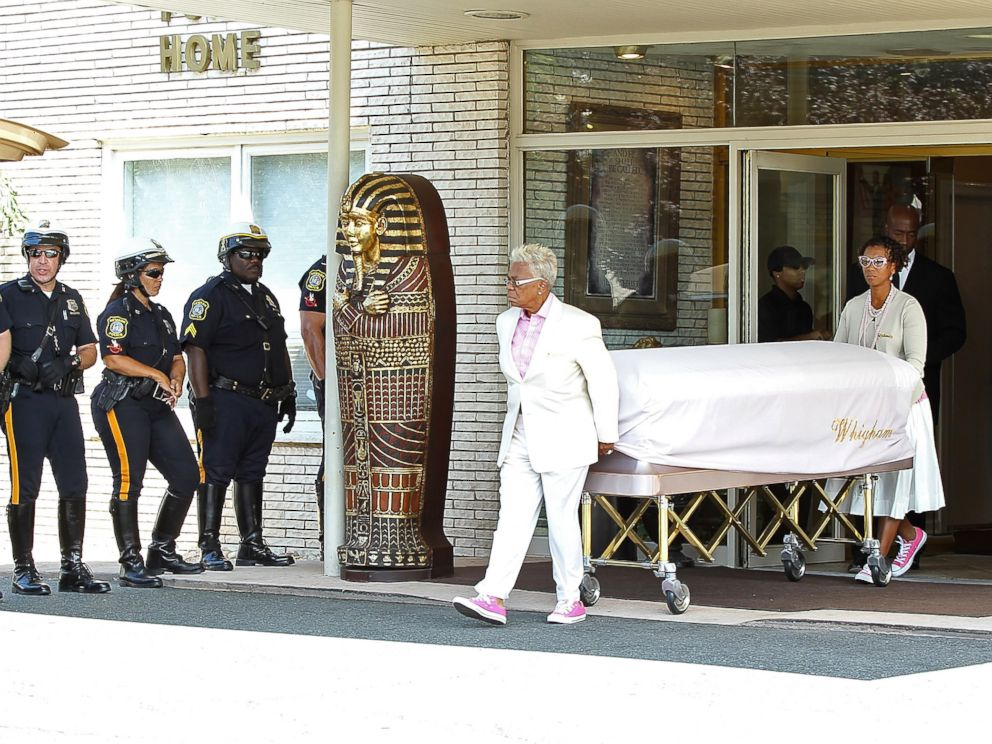 PHOTO: The body of Bobbi Kristina Brown leaves following a funeral service on August 3, 2015 in Newark, New Jersey.