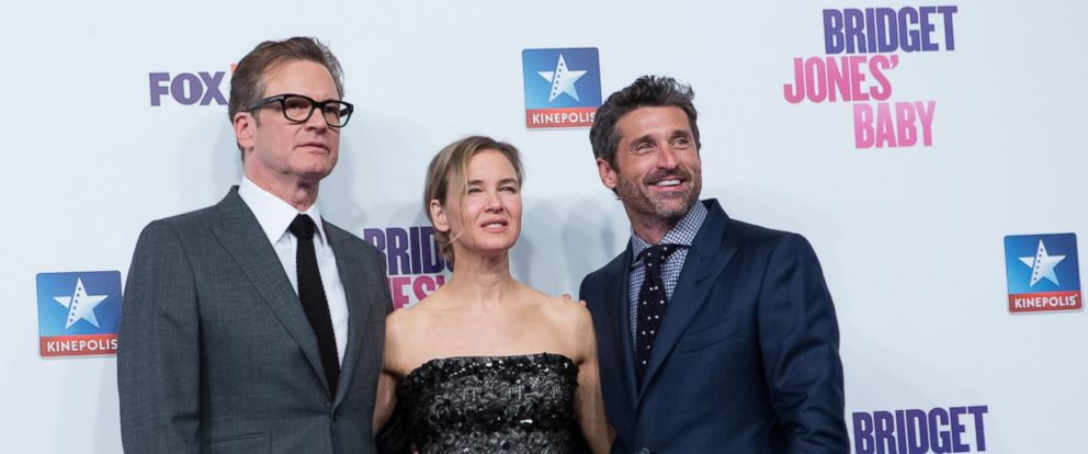 """PHOTO: Colin Firth, Renee Zellweger and Patrick Dempsey attend the """"Bridget Jones Baby"""" premiere at Kinepolis Cinema, Sept. 9, 2016 in Madrid, Spain."""