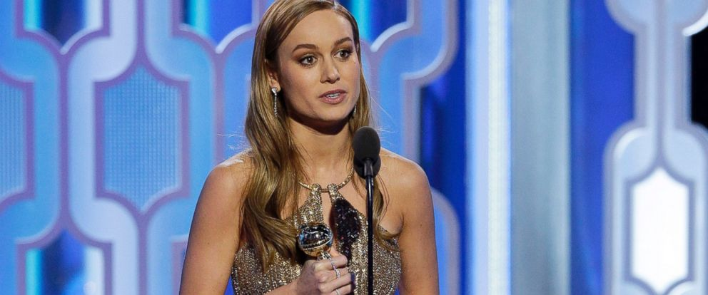 "PHOTO: Brie Larson accepts the award for Best Actress for ""Room"" during the 73rd Annual Golden Globe Awards at The Beverly Hilton Hotel on Jan. 10, 2016 in Beverly Hills, Calif."