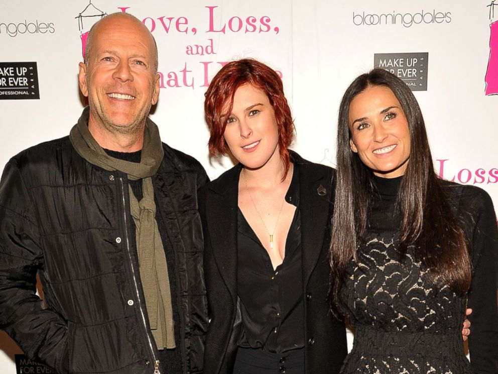 PHOTO: Bruce Willis, Rumer Willis and Demi Moore attend an event at B Smiths Restaurant on March 24, 2011 in New York City.
