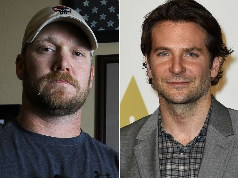 PHOTO: Sniper Chris Kyle, left, in this April 2012 file photo, and actor Bradley Cooper, right, on Feb. 2, 2015.