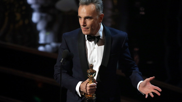 PHOTO: Actor Daniel Day-Lewis onstage during the Oscars held at the Dolby Theatre on February 24, 2013 in Hollywood.