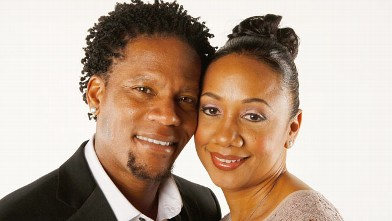 PHOTO: D.L. Hughley and wife Ladonna Hughley pose for a portrait at the 39th NAACP Image Awards held at the Shrine Auditorium, Feb. 14, 2008 in Los Angeles.