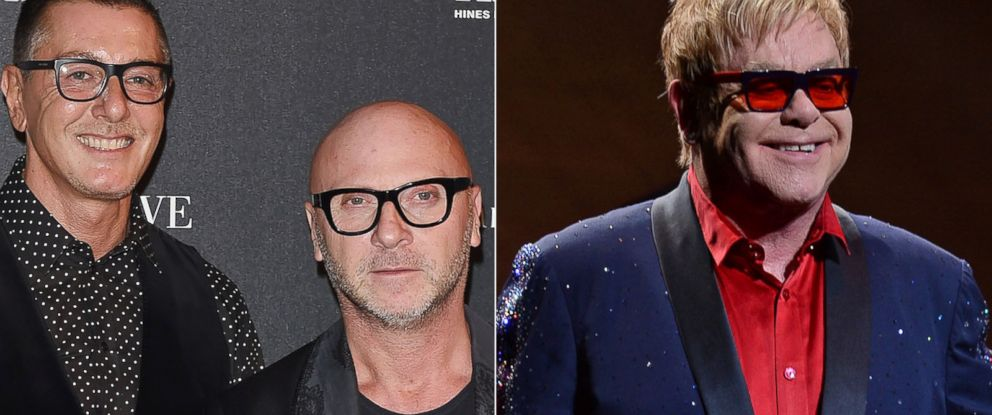 PHOTO: Stefano Gabbana and Domenico Dolce, seen left in this Sept. 2014 file photo, and Elton John, right, seen performing on March 6, 2015.