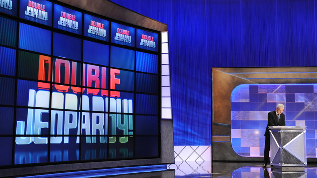"""PHOTO: Game show host Alex Trebek rehearses his lines on the set of the """"Jeopardy!"""" Million Dollar Celebrity Invitational Tournament Show Taping on April 17, 2010 in Culver City, Calif."""