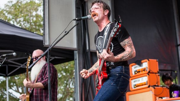PHOTO: Jesse Hughes of The Eagles of Death Metal performs during The Landing Festival at South Shore Harbor on Sept. 26, 2015 in New Orleans.
