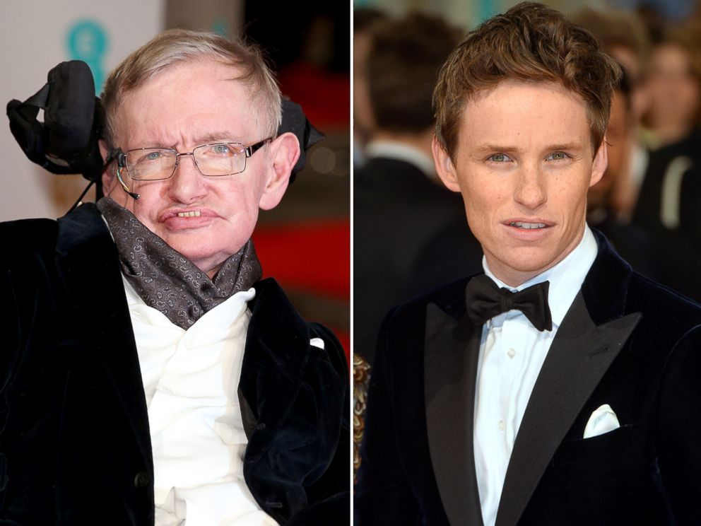 PHOTO: Stephen Hawking, left, and Eddie Redmayne, right, at the 2015 BAFTA awards on Feb. 8, 2015 in London.