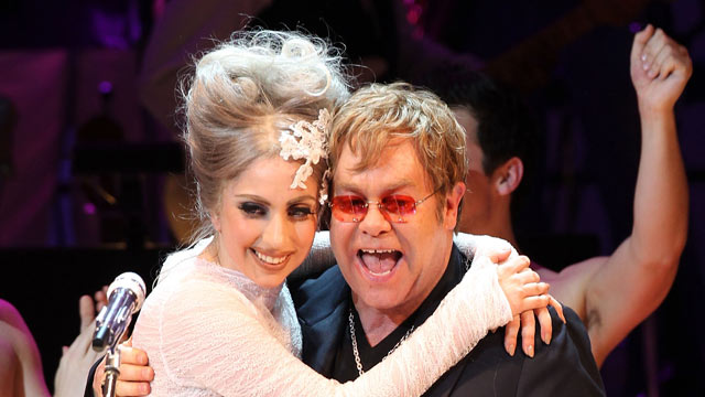 PHOTO:Lady Gaga and Elton John perform on stage during the Almay concert to celebrate the Rainforest Fund's 21st birthday on May 13, 2010 in New York.
