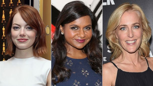 PHOTO: Emma Stone on Oct. 14, 2014 in New York City. | Mindy Kaling on Sept. 12, 2014 in New York City. | Gillian Anderson Oct. 9, 2014 in New York City.