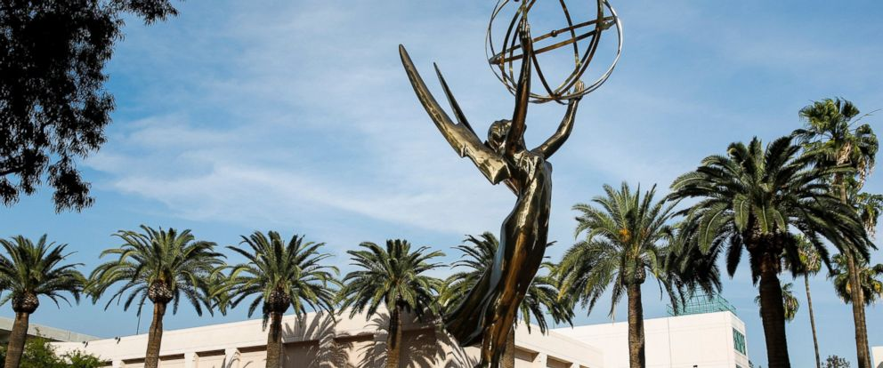 PHOTO: A giant Emmy statue sits atop a fountain in front of the Academy of Television Arts & Sciences North Hollywood headquarters, March 6, 2014.
