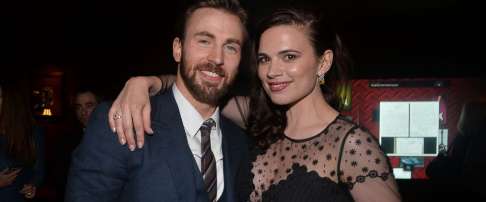 Chris evans and hayley atwell become part of surprise proposal photo chris evans and hayley atwell attend the after party for marvels captain america m4hsunfo
