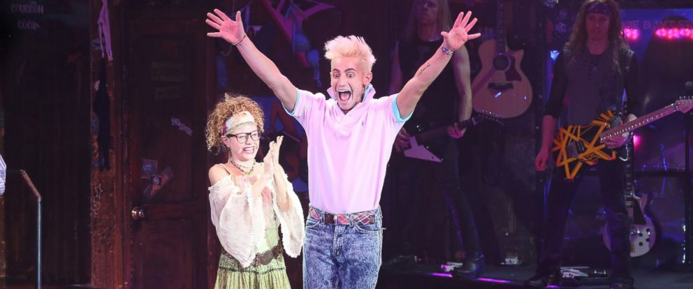 """PHOTO: Actor Frankie J. Grande takes a bow during the curtain call for his debut performance in """"Rock Of Ages"""" at Helen Hayes Theatre on Nov. 10, 2014 in New York City."""