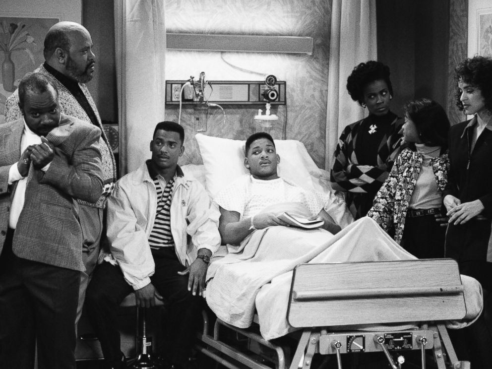 PHOTO: From the left, Joseph Marcell as Geoffrey, James Avery as Philip Banks, Alfonso Ribeiro as Carlton Banks, Will Smith as William Will Smith, Janet Hubert as Vivian Banks, Tatyana Ali as Ashley Banks, Karyn Parsons in The Fresh Prince of Bel-Air.