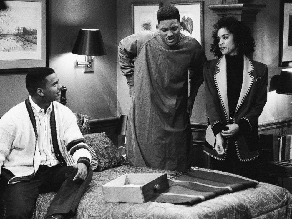 PHOTO: From the left, Alfonso Ribeiro as Carlton Banks, Will Smith as William Will Smith, Karyn Parsons as Hilary Banks in The Fresh Prince of Bel-Air.