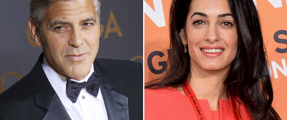 George Clooney is pictured in Shanghai, China on May 14, 2014 and Amal Alamuddin is seen in London, England on June 12, 2014.