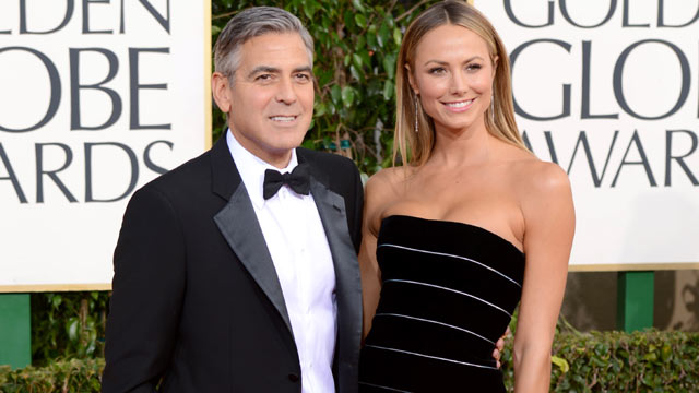 PHOTO: George Clooney and Stacy Keibler arrive at the 70th Annual Golden Globe Awards held at The Beverly Hilton Hotel, Jan. 13, 2013 in Beverly Hills.