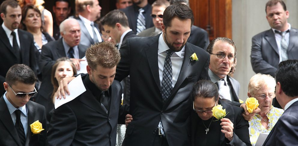 "PHOTO: Boyfriend, Ryan Anderson, and the mother of former ""Bachelor"" contestant, Gia Allemand, attend the funeral for Gia Allemand at Trinity Grace Church on Aug. 22, 2013 in New York City."