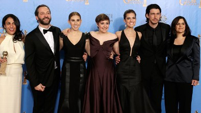 """PHOTO: The cast of """"Girls"""" pose in the press room at the 70th Annual Golden Globe Awards, Jan.13, 2013, in Beverly Hills, Calif."""