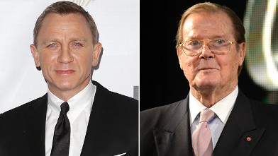 """PHOTO: Actor Daniel Craig, left, arrives at the """"Skyfall"""" Australian premiere at the State Theatre on November 16, 2012 in Sydney, Australia while Sir Roger Moore signs copies of his book """"Bond on Bond"""" at HMV, Oxford Street on October 22, 2012 in London,"""