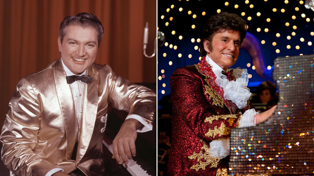 """PHOTO: American pianist and entertainer Liberace sitting at a piano, wearing a gold lame suit in the 1950s, while right, actor Michael Douglas depicts Liberace in the 2013 film """"Behind the Candelabra""""."""
