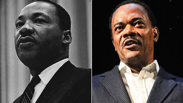 """PHOTO: The Rev. Dr. Martin Luther King Jr., is seen in Denver in this May 18, 1967 file photo; Samuel L. Jackson portrayed Martin Luther King in """"Mountaintop"""" at The Bernard B. Jacobs Theatre on December 21, 2011 in New York City."""