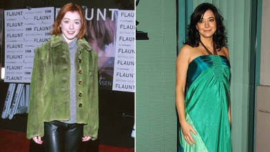 "PHOTO: Alyson Hannigan, left, during Flaunt's Magazine One Year Anniversary Party at The Sunset Room in Hollywood, Calif. in 1999, and right, at the ""How I Met Your Mother"" panel held at the Leonard H. Goldenson Theatre on January 27th, 2009 in North Holl"