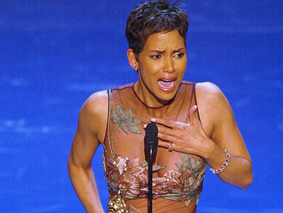 PHOTO: Halle Berry accepts her Oscar for Best performance by an actress in a leading role during the 74th Academy Awards at the Kodak Theatre in Hollywood, March 24, 2002.