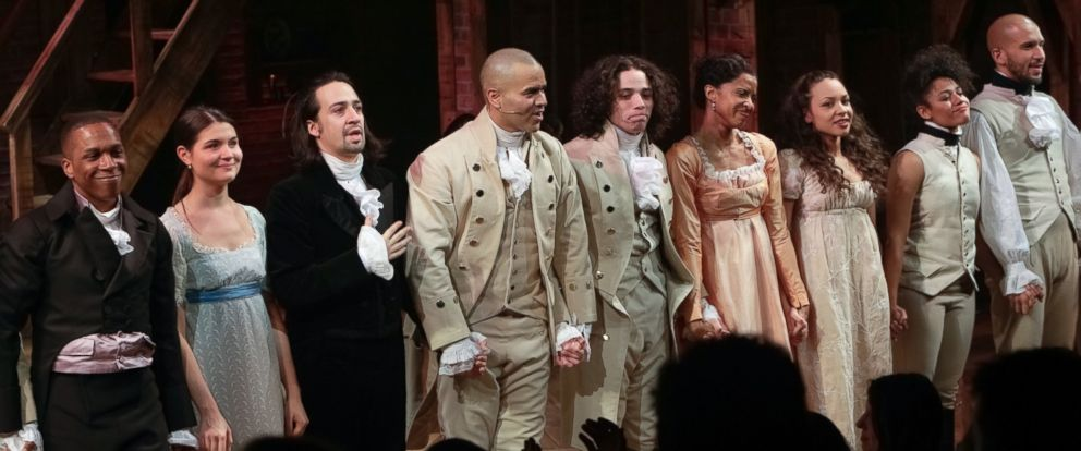 "PHOTO:The cast of ""Hamilton"" is seen taking a curtain call during the opening night celebration at The Public Theater, Feb. 17, 2015, in New York."
