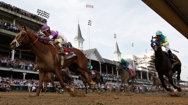 PHOTO: I'll Have Another, ridden by Mario Gutierrez, edges out Bodemeister, right, to win the 138th Kentucky Derby, Louisville Kentucky, May 5, 2012.