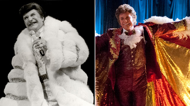 """PHOTO: Liberace on November 22, 1982 in Chicago, Il., while Michael Douglas, right, portrays the performer in the 2013 film, """"Behind the Candelabra""""."""