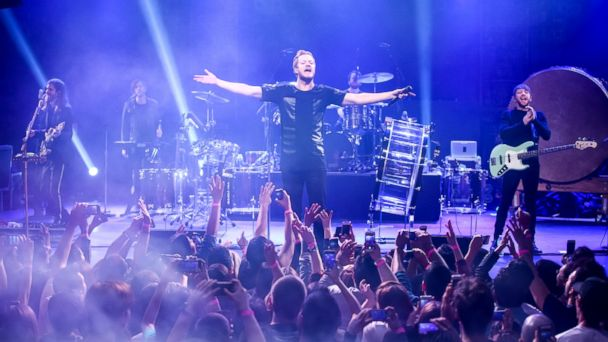 PHOTO: Musicians Daniel Wayne Sermon, Dan Reynolds, Dan Platzman and Ben McKee of Imagine Dragons perform on Feb. 5, 2015 in Los Angeles.
