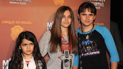 """PHOTO: Blanket Jackson, Paris Jackson and Prince Jackson attend Cirque Du Soleil's Michael Jackson """"The Immortal"""" World Tour Opening Night at Staples Center on January 27, 2012 in Los Angeles, California."""