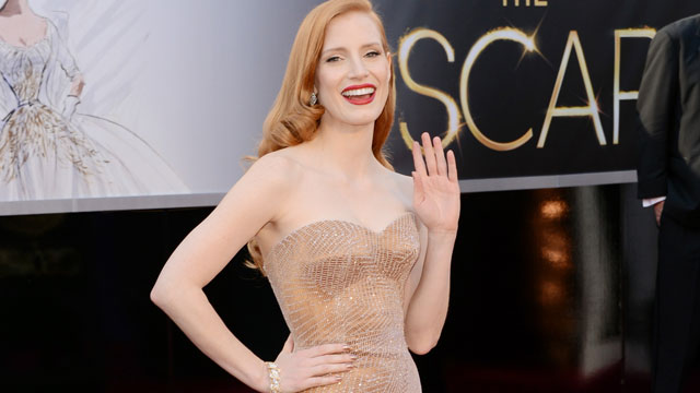 PHOTO: Actress Jessica Chastain arrives at the Oscars at Hollywood & Highland Center on February 24, 2013 in Hollywood, California.