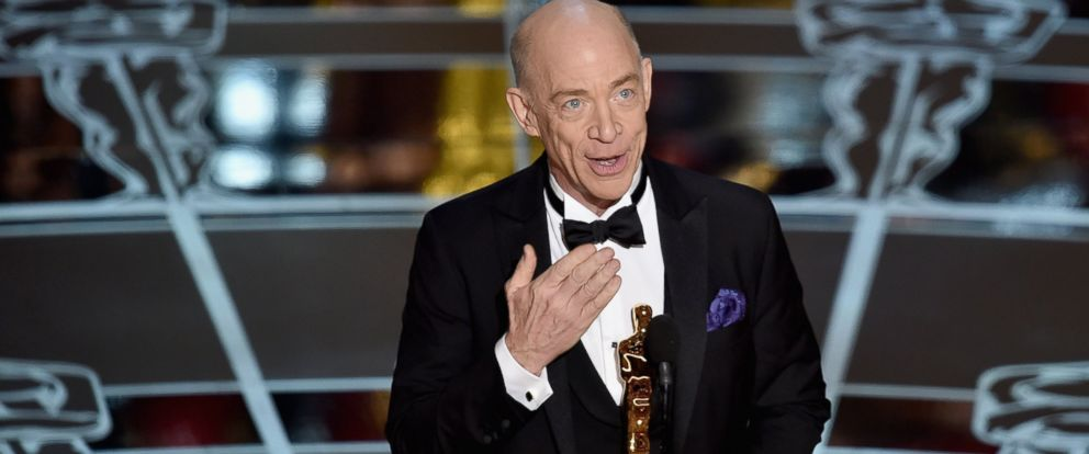 """PHOTO: J.K. Simmons accepts the Actor in a Supporting Role Award for """"Whiplash"""" onstage during the 87th Annual Academy Awards at Dolby Theatre on Feb. 22, 2015 in Hollywood, Calif."""