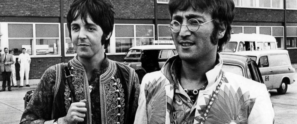 PHOTO: John Lennon and Paul McCartney returning to Heathrow Airport in London from holiday in Greece, July 31, 1967.